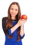 Chica joven que sostiene la manzana roja Imagenes de archivo