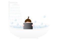 Chica joven que toma un baño Foto de archivo libre de regalías