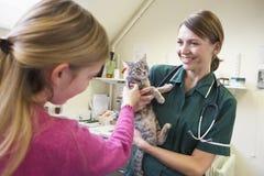 Chica joven que trae el gato para la examinación de Vet Imágenes de archivo libres de regalías