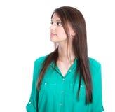 Chica joven seria que mira el lado aislado. Imagen de archivo libre de regalías