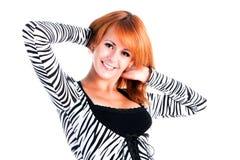 Chica joven sonriente en alineada Imágenes de archivo libres de regalías
