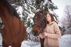 Chica joven y caballo en un bosque del invierno Fotografía de archivo libre de regalías