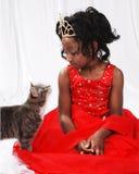 Chica joven y gato Fotos de archivo libres de regalías