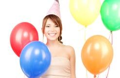 Chica marchosa con los globos Fotografía de archivo libre de regalías