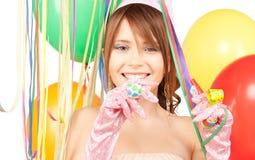 Chica marchosa con los globos Foto de archivo