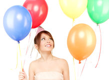 Chica marchosa con los globos Imágenes de archivo libres de regalías