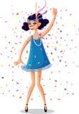 Chica marchosa de la aleta del vector retro 20s del rugido Imagen de archivo