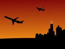 chicago покидая плоскости Стоковая Фотография RF