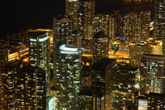 Chicago. View to Downtown Chicago / USA from high above at night royalty free stock photography