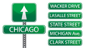 Chicago. Street signs isolated over white Stock Images