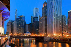 Chicago. Downtown riverside view at twilight stock photo