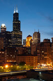 Chicago. Image of Chicago cityscape after sunset stock images