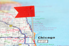 Chicago. Illinois. Red flag pin on an old map showing travel destination Stock Images