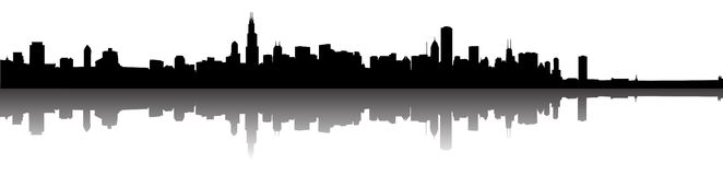горизонт силуэта chicago Стоковое Изображение RF