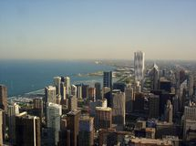 Chicago. Photograph taken from 94th Floor of John Hancock observatory with lake michigan in the backdrop of chicago downton area stock images