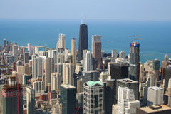 Chicago aerial view. Aerial view of skyscrapers in city of Chicago, Illinois, U.S.A royalty free stock photography