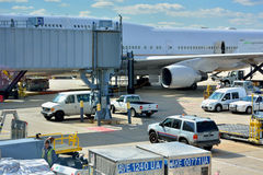 Chicago airport ground working. Chicago International Airport, shown as working and operations in airport, and industrial of transportation, or equipment of air Royalty Free Stock Images
