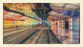 Chicago airport. Walkways under Chicago O'Hara international Royalty Free Stock Images