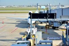 Chicago airport working scene Stock Photo