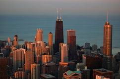 Chicago al tramonto Immagine Stock Libera da Diritti