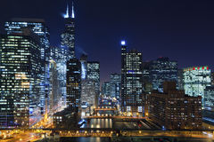 Chicago alla notte. Immagini Stock Libere da Diritti