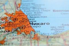 chicago América en un mapa geográfico con el texto ruso imagenes de archivo