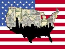 Chicago-amerikanische Kartenmarkierungsfahne Lizenzfreie Stockfotografie