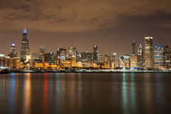 Chicago participates in Autism Speaks Light It Up  Royalty Free Stock Photo
