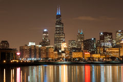Chicago participates in Autism Speaks Light It Up Blue campaign Stock Image