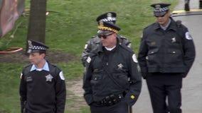 Chicago - 30. April 2015 NFL Draft der Polizei-Sheriff Officiers in der 'Entwurfs-Stadt ' stock video