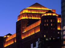 Chicago Architect. Merchandise Market in downtown Chicago with lights on Royalty Free Stock Images