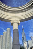 Chicago Architectural Detail with Sears Tower in Background, Chicago, Illinois Royalty Free Stock Image