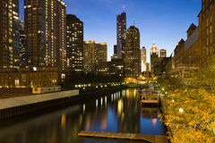Chicago architecture along the canal Stock Photo