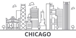 Chicago architecture line skyline illustration. Linear vector cityscape with famous landmarks, city sights, design icons Royalty Free Stock Photography