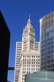 Chicago Wrigley byggnad och skyskrapor Arkivfoto