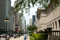 Chicago art institute city scene Royalty Free Stock Images