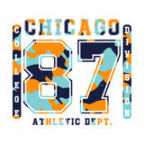 Chicago, athletic department. Camouflage t-shirt design, typography for t-shirt graphics Royalty Free Stock Image