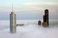 Chicago através das nuvens Imagens de Stock Royalty Free