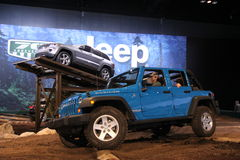 Chicago auto show. You can try all Jeeps models right here Royalty Free Stock Image