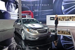Chicago Auto Show 2011. Chrysler Advertising or advertising for Chicago Auto Show stock photography