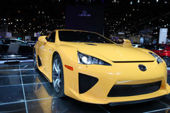 Chicago Auto Show yellow car. Image of the yellow Lexus LFA at the Chicago Auto show 2011 Stock Images