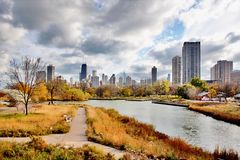 Chicago autumn view. Lincoln Park Neighborhood of Chicago located at the Lincoln Park ZOO Stock Photos