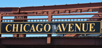Chicago Avenue. Sign on bridge over Chicago river stock image