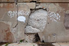 Chicago Banksy, You Concrete Me, Vandalized royalty free stock image