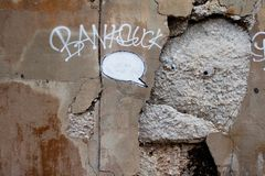 Chicago Banksy, You Concrete Me, Vandalized stock photos