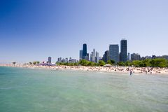 Chicago Beach. A Chicago beach with the Chicago downtown in the background Stock Image