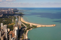 Chicago beach background. Beautiful Chicago beach in the fall Stock Photos