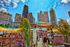 Chicago Beach. Looking from the Oak Street Beach south towards the city of Chicago Royalty Free Stock Photo