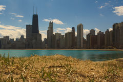 Chicago beach. Skyline of downtown Chicago from North Beach Royalty Free Stock Photography