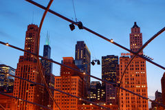Chicago through the beams of the Pritzger Theater Stock Images